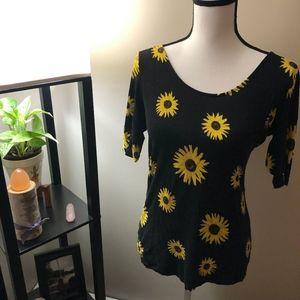 Rue21 Black x Sunflower 3/4 Sleeve Scoop Shirt